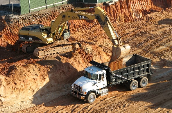 Excavation for building foundation construction