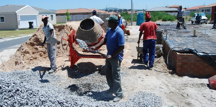 concrete mixing by labors