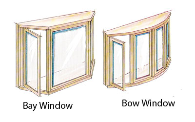bay window and bow window photo comparison