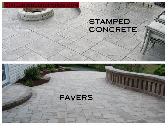 stamped concrete vs paver