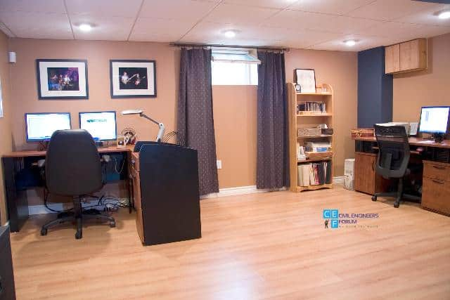 office space in a renovated basement