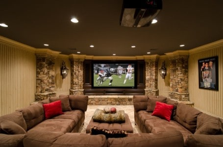 media room basement renovation idea