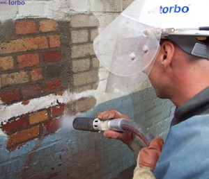 Removing Paint from bricks by sand blasting