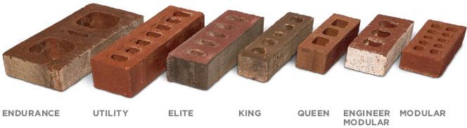 different brick sizes