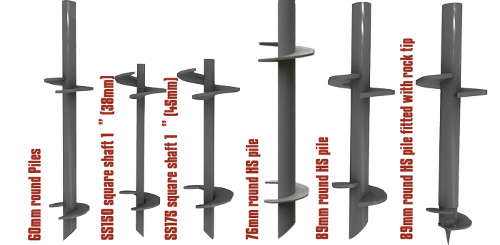 different helical pile sizes